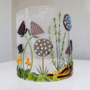 Fused glass Candle curve flower design