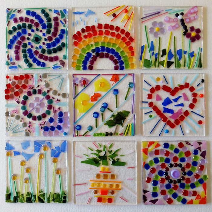 Childrens fused glass mosaic workshop Bristol