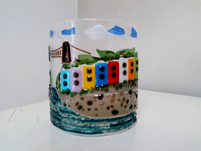 Bristol Coloured Houses fused glass panel