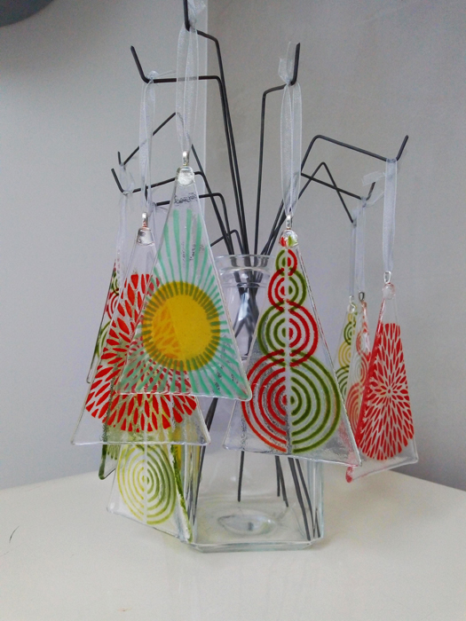 Fused Glass triangle hanging