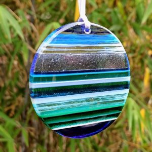 Fused glass sun catcher hanging - aqua