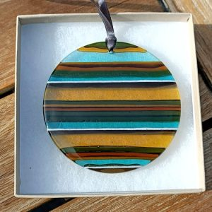 Fused glass sun catcher hanging - woodland