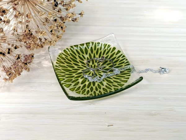 Fused glass trinket dish - Petal