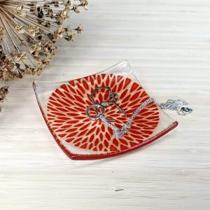 Fused glass trinket dish - Petal