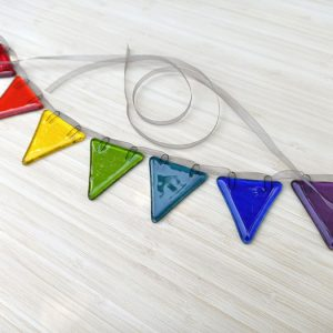 Fused glass rainbow bunting