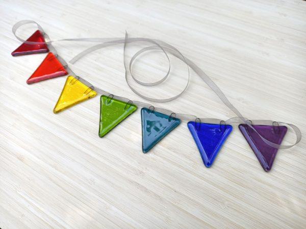 Fused glass rainbow bunting