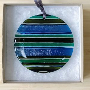Fused Glass hanging - Copper Blue