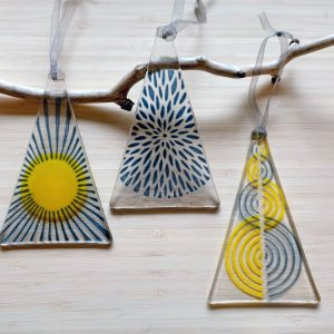 Fused Glass Hangings - Trio of Blue