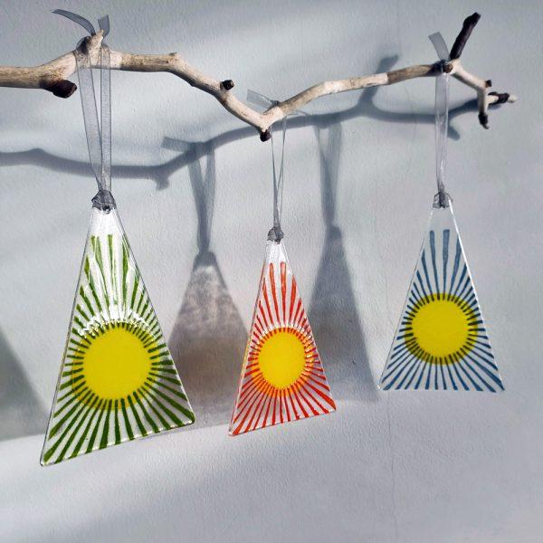 Fused Glass Hangings - Trio of Burst
