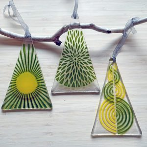Fused Glass Hangings - Trio of Green