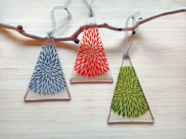 Fused Glass Hangings - Trio of Petal