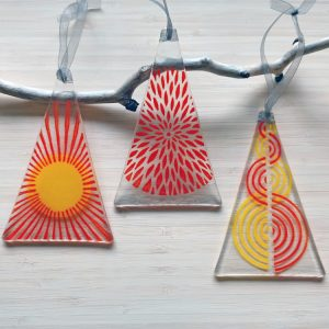 Fused Glass Hangings - Trio of Red