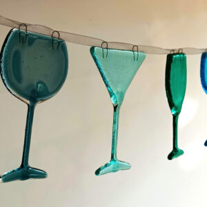 Wine glasses in ocean colours