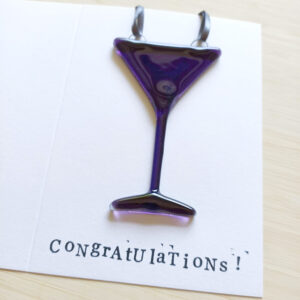 Greeting card with cocktail glass decoration